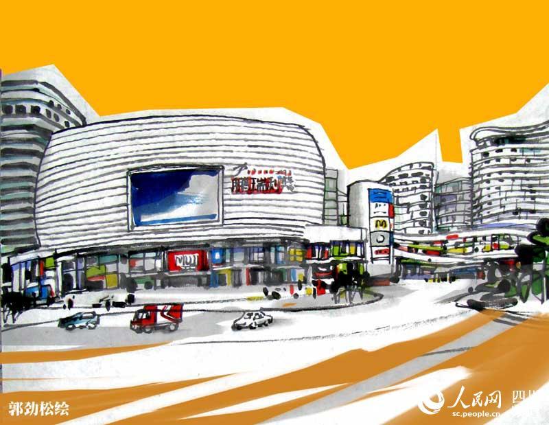 四川画家手绘成都地铁四号线风景