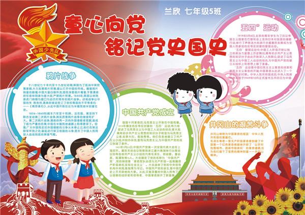 庆祝建党97周年 孩子们手绘小报铭记党史国史